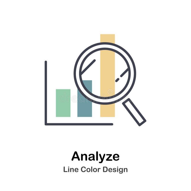Analice el icono lineal del color ilustración del vector
