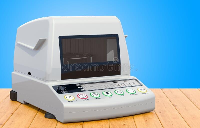 Analisador da umidade, analisador da umidade na tabela de madeira rendi??o 3d ilustração royalty free