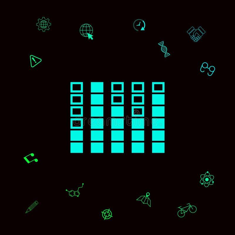 Analisador de espectro, ícone do equalizador Elementos gráficos para seu designt ilustração stock