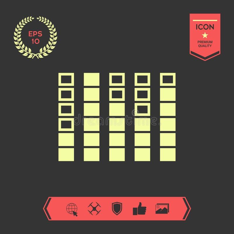 Analisador de espectro, ícone do equalizador Elementos gráficos para seu projeto ilustração do vetor