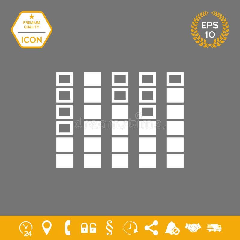 Analisador de espectro, ícone do equalizador Elementos gráficos para seu projeto ilustração royalty free