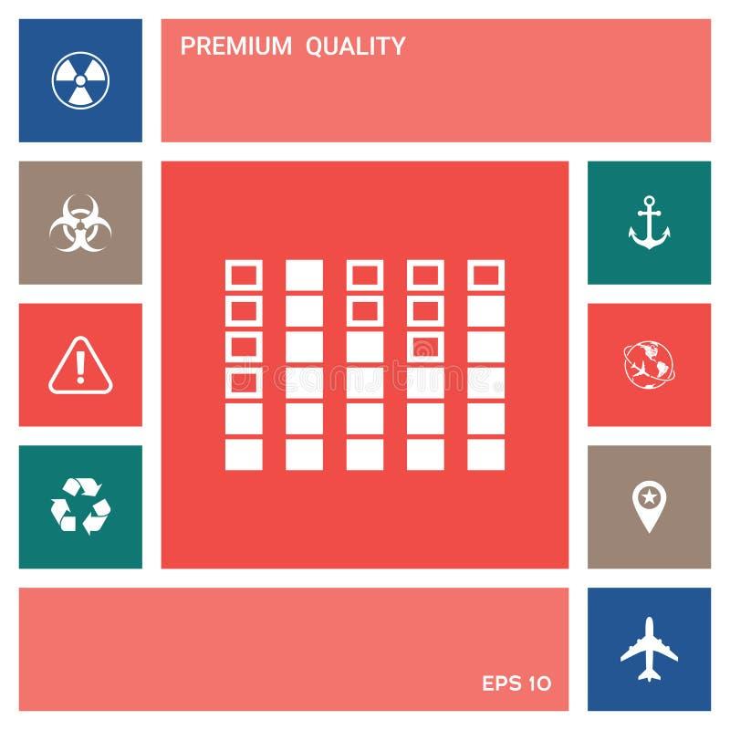 Analisador de espectro, ícone do equalizador Elementos para seu projeto ilustração royalty free