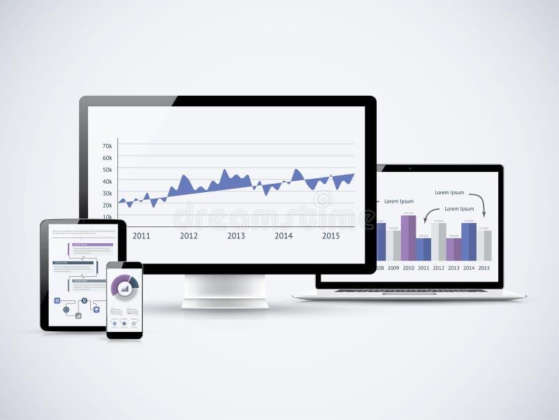 Analisando estatísticas financeiras nos computadores de vetor ilustração royalty free