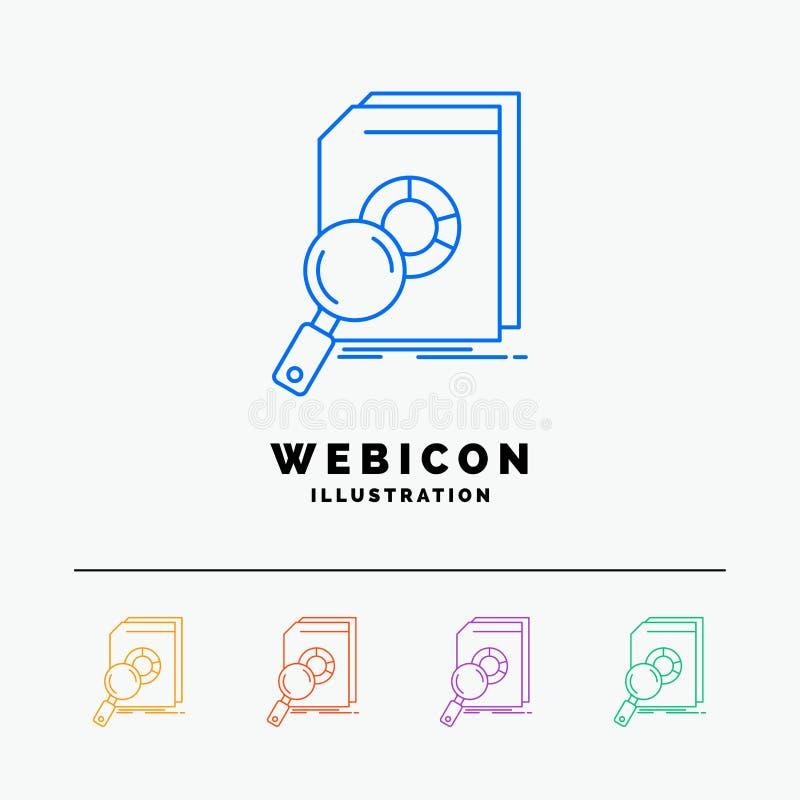 Analisi, dati, finanziari, mercato, linea di colore di ricerca 5 modello dell'icona di web isolato su bianco Illustrazione di vet illustrazione di stock