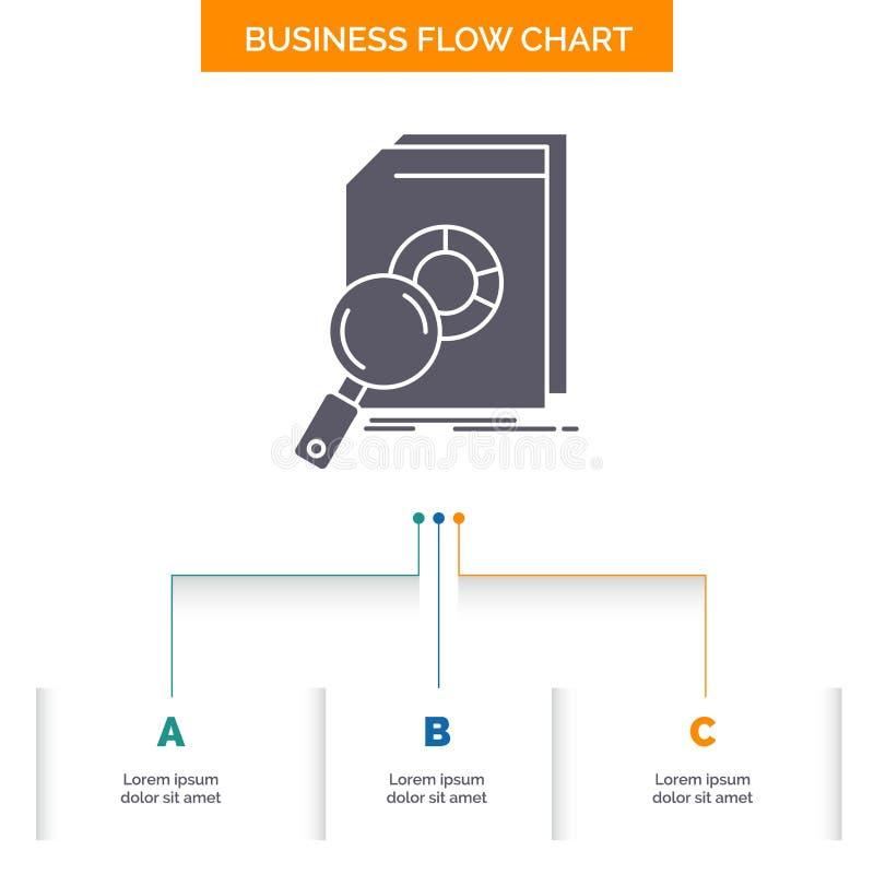 Analisi, dati, finanziari, mercato, progettazione del diagramma di flusso di affari di ricerca con 3 punti Icona di glifo per il  illustrazione vettoriale