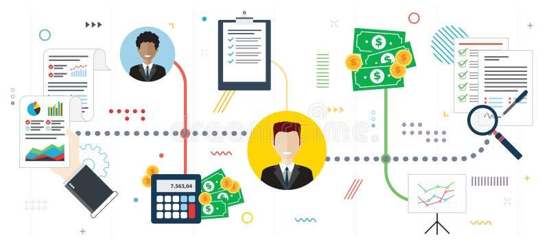 Analisi degli investimenti e nuova firma di contratto illustrazione di stock