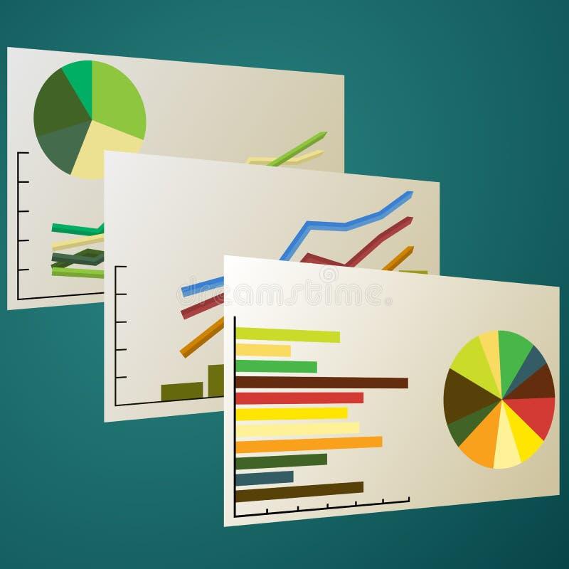 Analisi dei dati del grafico illustrazione di stock