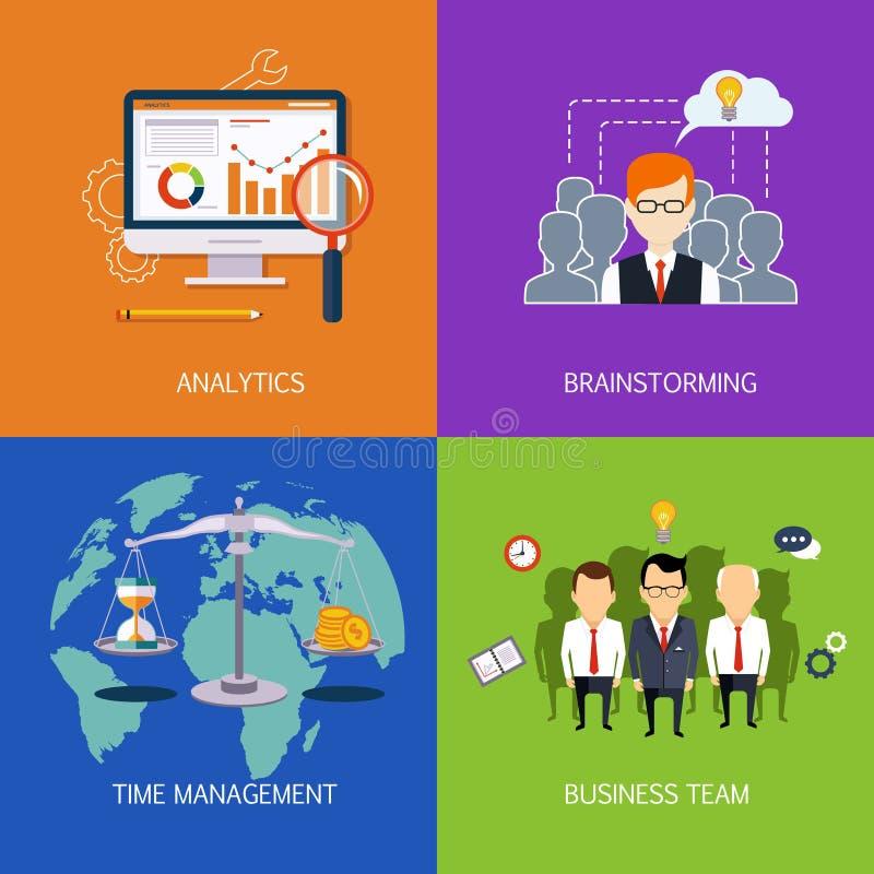 Analisi dei dati delle insegne, 'brainstorming', Il tempo è denaro e gruppo di affari Vettore piano royalty illustrazione gratis