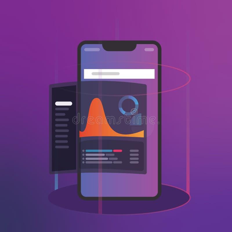Analisi dei dati di affari e di intelligenza con il concetto del cruscotto degli indicatori di efficacia chiave cellulare digital illustrazione di stock