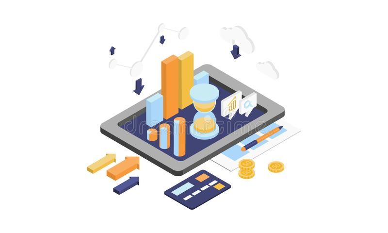 Analisi dei dati di calcolo, sviluppo di web, tecnologia della comunicazione, illustrazione moderna di vettore dell'apparecchio e royalty illustrazione gratis