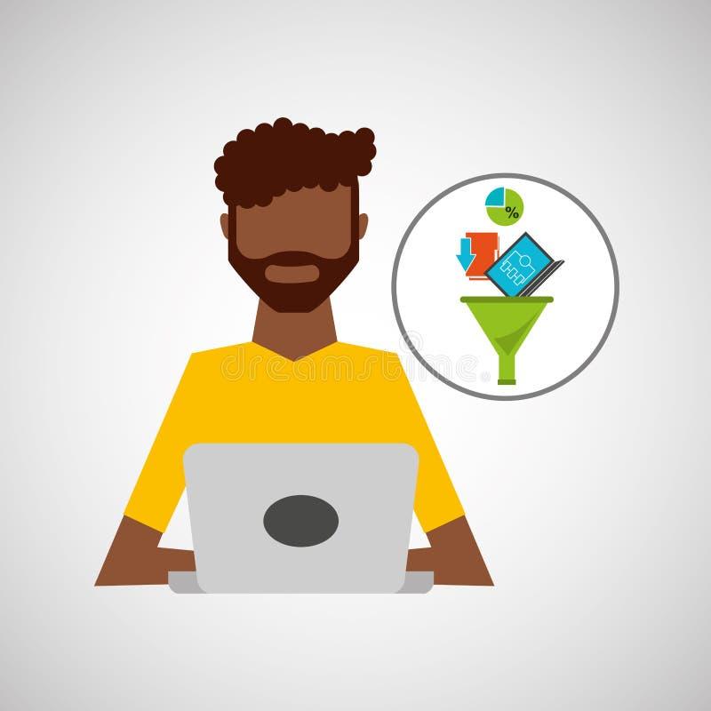 Analisi dei dati di lavoro di dati del computer portatile dell'uomo di afro illustrazione di stock