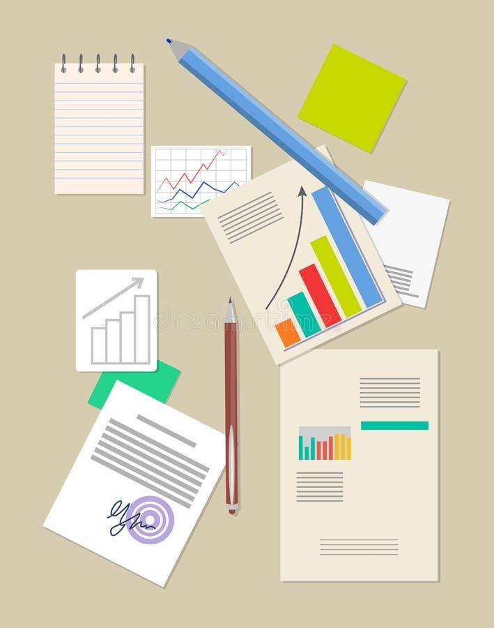 Analisi dei dati grandi dati e blocco note con la matita enorme illustrazione di stock