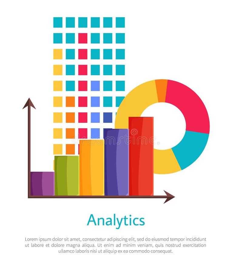 Analisi dei dati messa del manifesto multicolore dei grafici illustrazione di stock