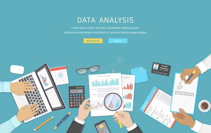 Analisi dei dati, riunione d'affari, verifica, calcolo, segnalazione, contabilità La gente allo scrittorio sul lavoro Mani umane  illustrazione vettoriale