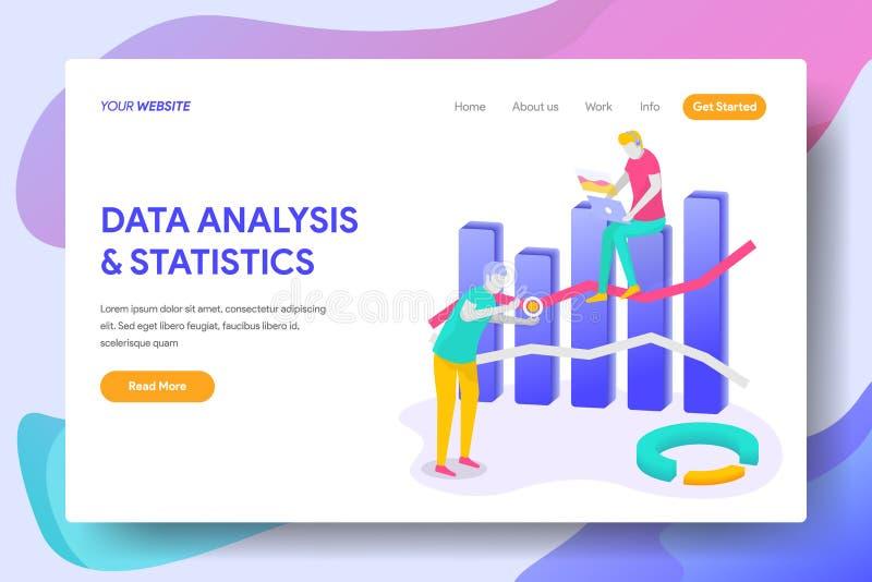 ANALISI DEI DATI & STATISTICHE d'atterraggio della pagina illustrazione di stock