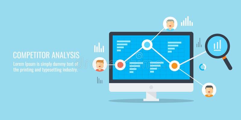 Analisi del concorrente, ricerca di mercato, sviluppo digitale di strategia, dati, concetto di informazioni Insegna piana di vett royalty illustrazione gratis