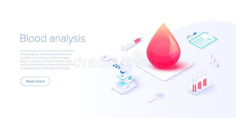 Analisi del sangue o analisi nell'illustrazione isometrica di vettore Concetto di sanità per l'esame clinico del laboratorio medi illustrazione di stock