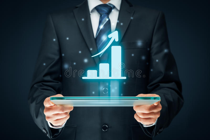 Analisi di crescita di affari immagini stock