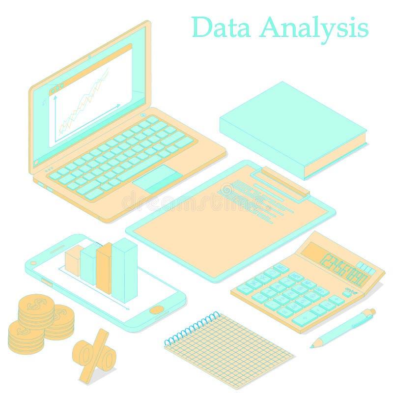 Analisi di dati Isometrico piano Arancia e turchese luminosi illustrazione vettoriale