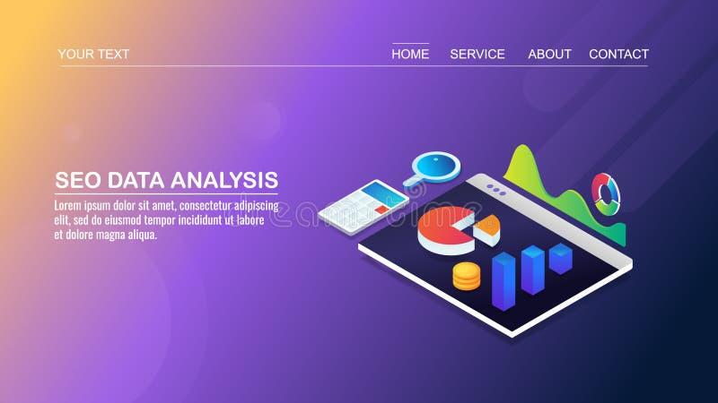 Analisi di seo del sito Web, ottimizzazione del motore di ricerca, analisi dei dati commercializzante digitale di dati, concetto  royalty illustrazione gratis