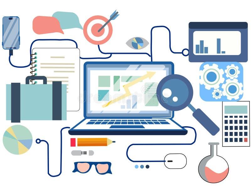 Analisi finanziaria della rete sociale online di affari e progettazione piana di ricerca, elementi di infographics, quadro televi illustrazione di stock