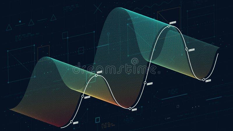 Analisi finanziaria delle basi di dati complesse, fili di dati dell'onda di concetto di tecnologia grandi, fondo astratto di fina illustrazione di stock