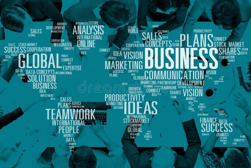 Analisi globale Concep di vendita di successo di idee di lavoro di squadra di affari immagini stock libere da diritti