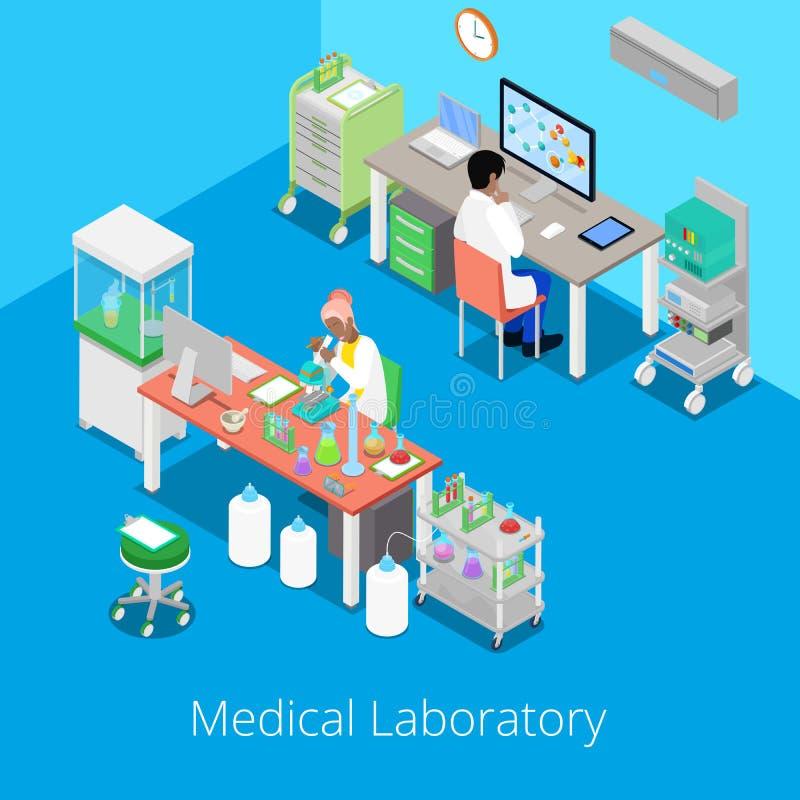 Analisi isometrica del laboratorio con ricerca del prodotto chimico e del personale medico illustrazione vettoriale