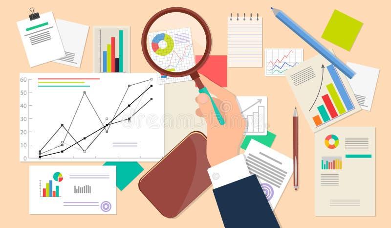 Analista do negócio, ícone financeiro da Web da análise de dados ilustração stock