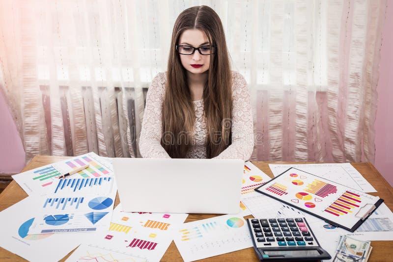 Analista do negócio que trabalha no portátil imagens de stock royalty free
