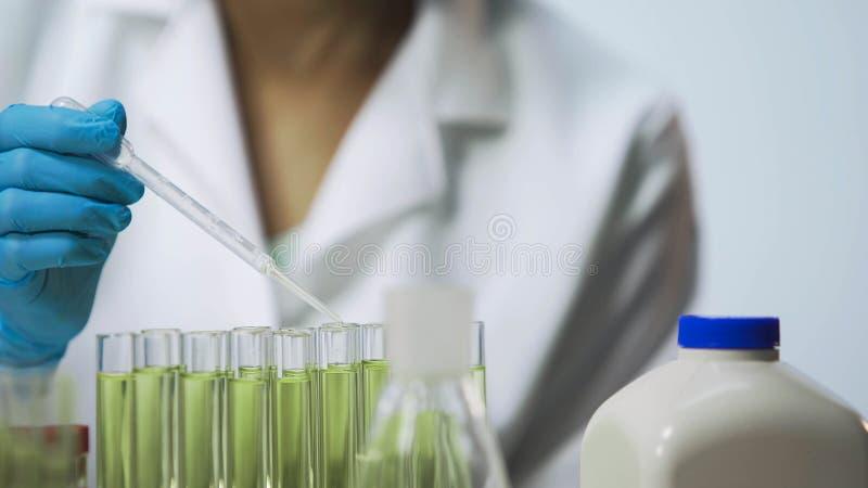 Analista fêmea do laboratório que verifica o material biológico em vírus usando a pipeta imagem de stock royalty free