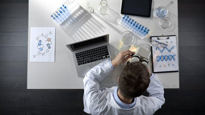 Analista masculino que hace observaciones de la muestra debajo del microscopio, topview de la investigación del laboratorio imagen de archivo libre de regalías