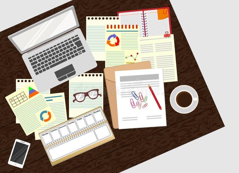 Analista Study del negocio la estrategia empresarial oficina Organización realista del lugar de trabajo stock de ilustración