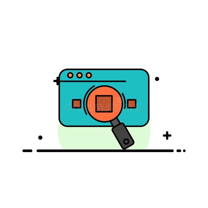 Analitisch onderzoek, Analytics, Gegevens, Informatie, Zoeken, Malplaatje Web van de Bedrijfs het Vlakke Lijn Gevulde Pictogram V vector illustratie