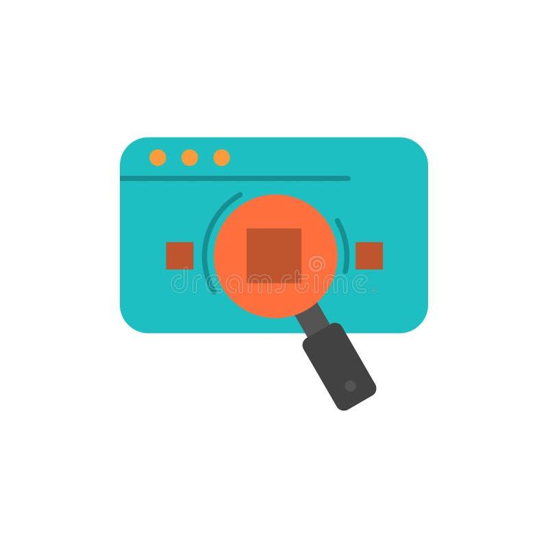 Analitisch onderzoek, Analytics, Gegevens, Informatie, Zoeken, Pictogram van de Web het Vlakke Kleur Het vectormalplaatje van de  stock illustratie