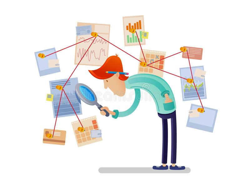 Analityk finansowy z powiększać - szkło ilustracja wektor