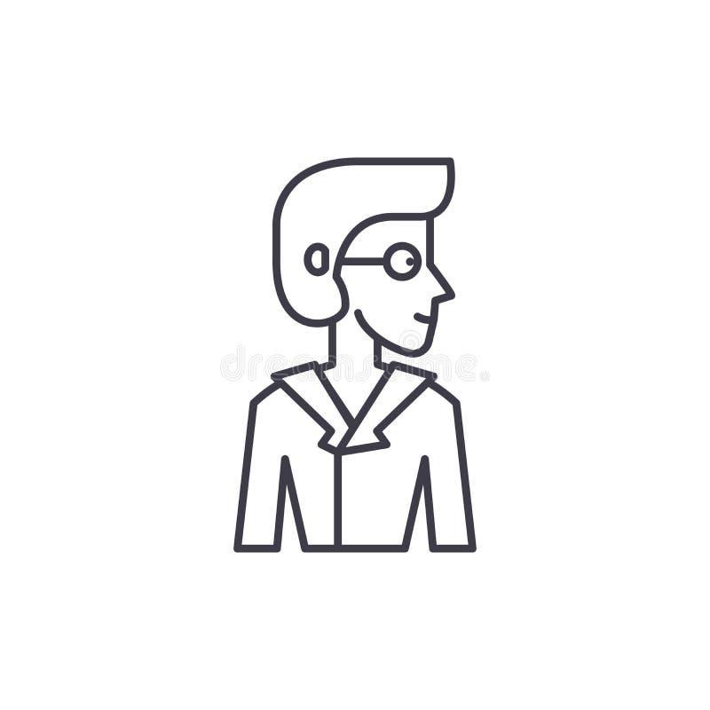 Analityk ikony kreskowy pojęcie Analityk wektorowa liniowa ilustracja, symbol, znak ilustracji