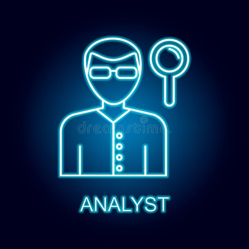 analityk kreskowa ikona w neonowym stylu Element dzia? zasob?w ludzkich ikona dla mobilnych poj?cia i sieci apps ilustracja wektor