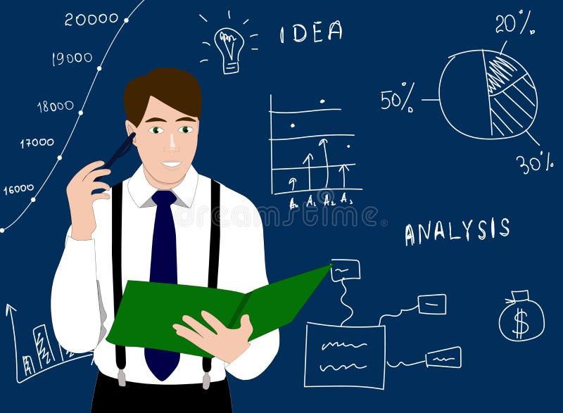 Analityk myśleć blisko te deski z infographics wektoru ikoną Zawód analityka pojęcia ilustracja Mężczyzna W Biel ilustracji