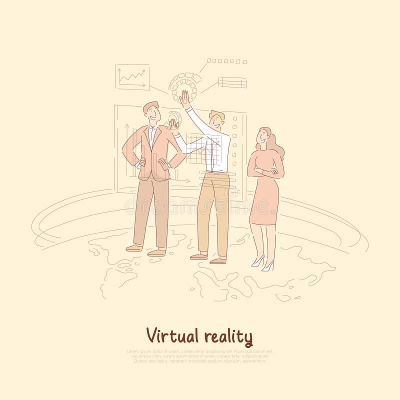 Analityk pracuje z interaktywnym interfejsem, zwiększający rzeczywistości ui, biznesowych statystyk hologram, futurystyczna techn royalty ilustracja
