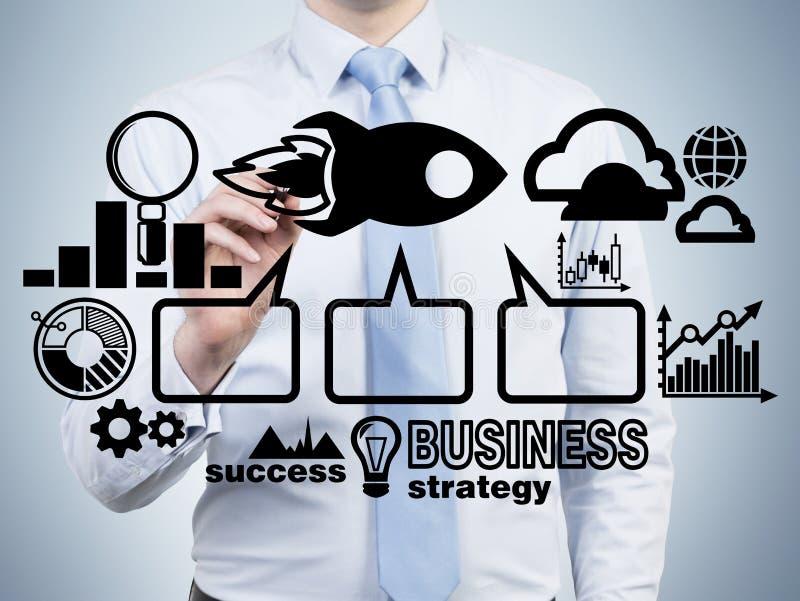 Analityk rysuje flowchart jako pojęcie strategia biznesowa ilustracja wektor