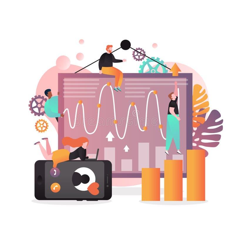 Analityk usługuje wektorowego pojęcie dla sieć sztandaru, strony internetowej strona ilustracji