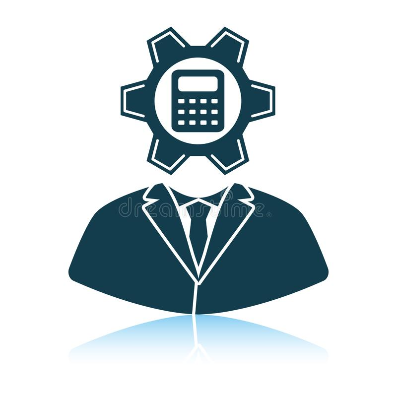 Analityk z przekładnią hed i kalkulator wśrodku ikony ilustracja wektor