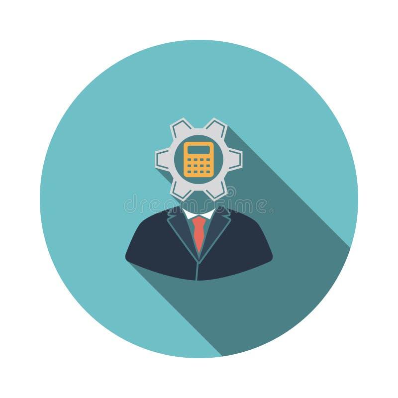 Analityk z przekładnią hed i kalkulator wśrodku ikony ilustracji