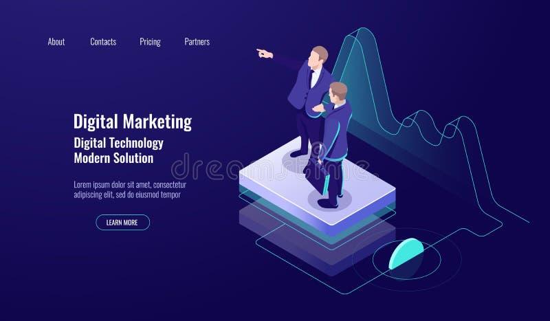 Analityka cyfrowy marketing, isometric pojęcie, praca zespołowa, nauczanie w górę umiejętności, nauka pracownik, zmrok neonowy royalty ilustracja
