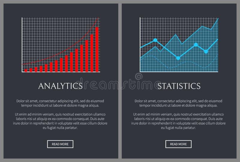 Analityka i statystyk grafika na stronach internetowych royalty ilustracja