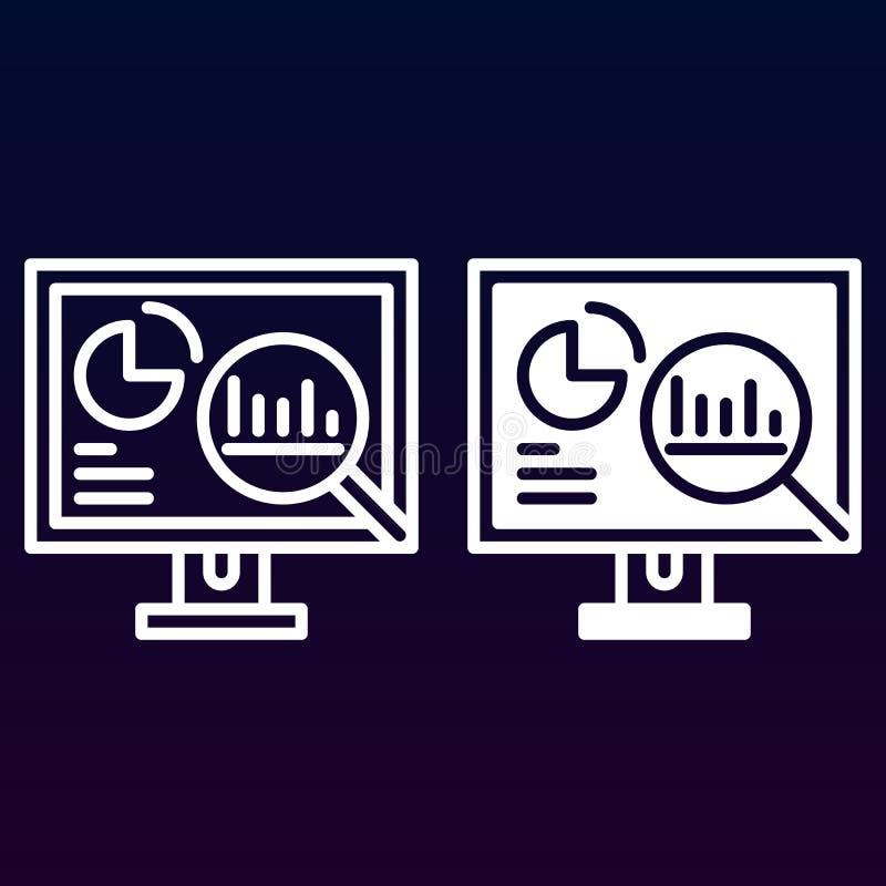 Analityka, komputer stacjonarny z, kontur i piktogram odizolowywający na bielu, wykresami kreskowymi i stałą ikoną, wypełniający  ilustracja wektor