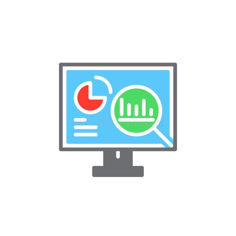Analityka, komputer stacjonarny z wykres ikony wektorem, wypełniający mieszkanie znak, stały kolorowy piktogram odizolowywający n ilustracji
