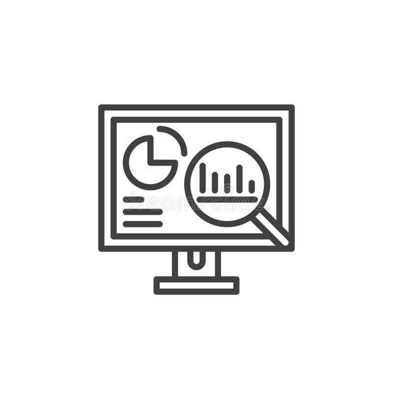 Analityka, komputer stacjonarny z wykres kreskową ikoną, konturu wektoru znak, liniowy piktogram odizolowywający na bielu ilustracji