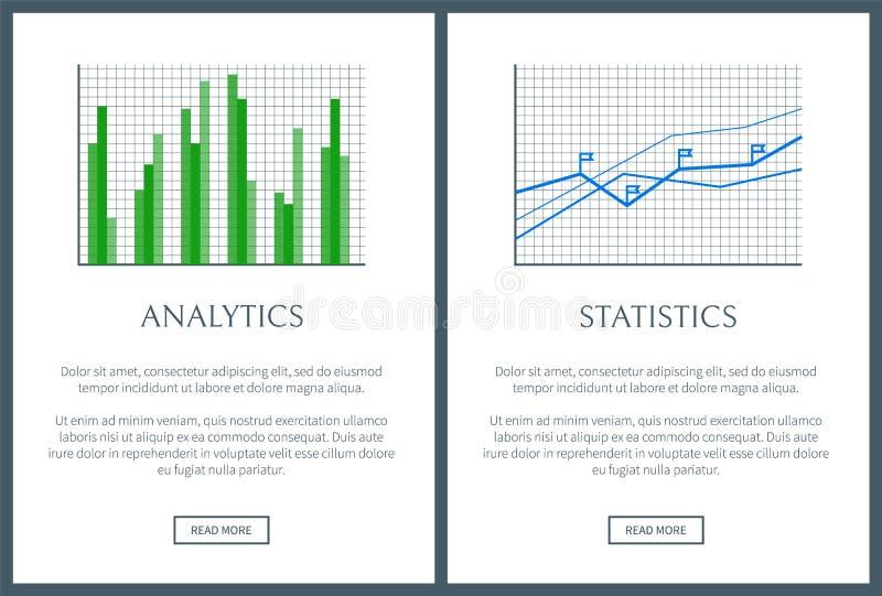 Analityka mapy i statystyki wykres, kolor karty ilustracji